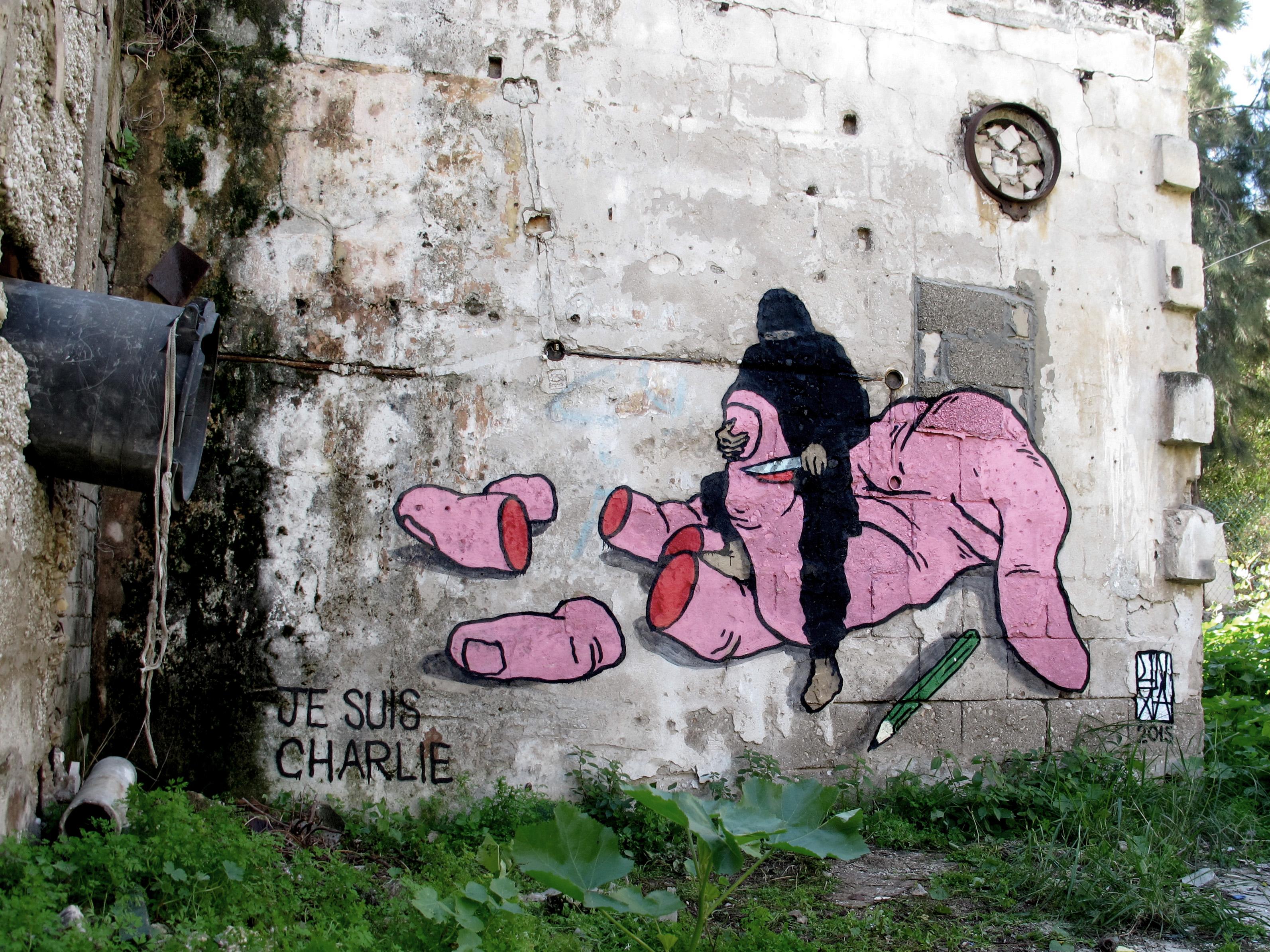 broken fingaz jesuischarlie isis graffiti israel middle east unga street art