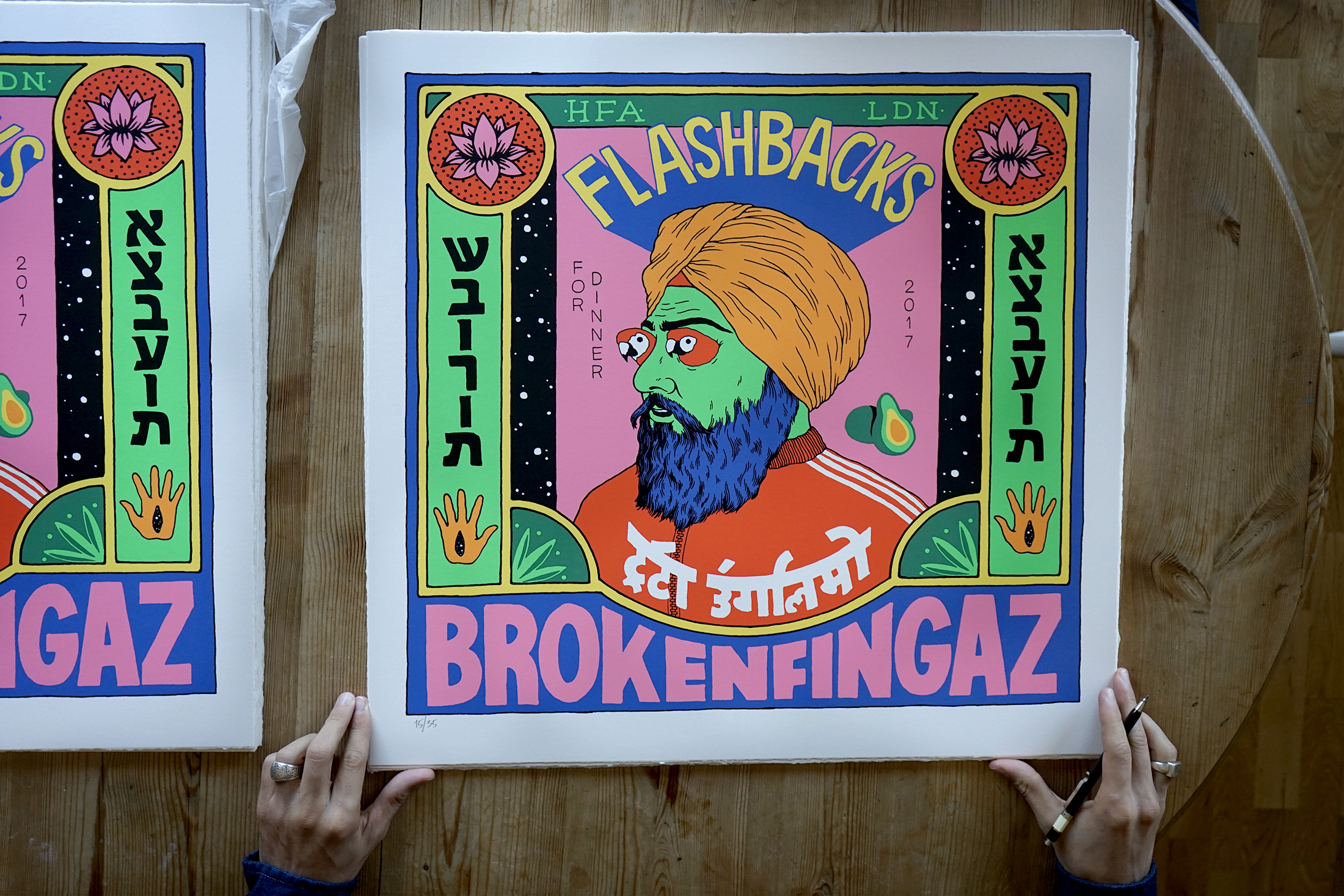 broken fingaz flashbacks print silkscreen unga deso tant colormakers indian birds eyes