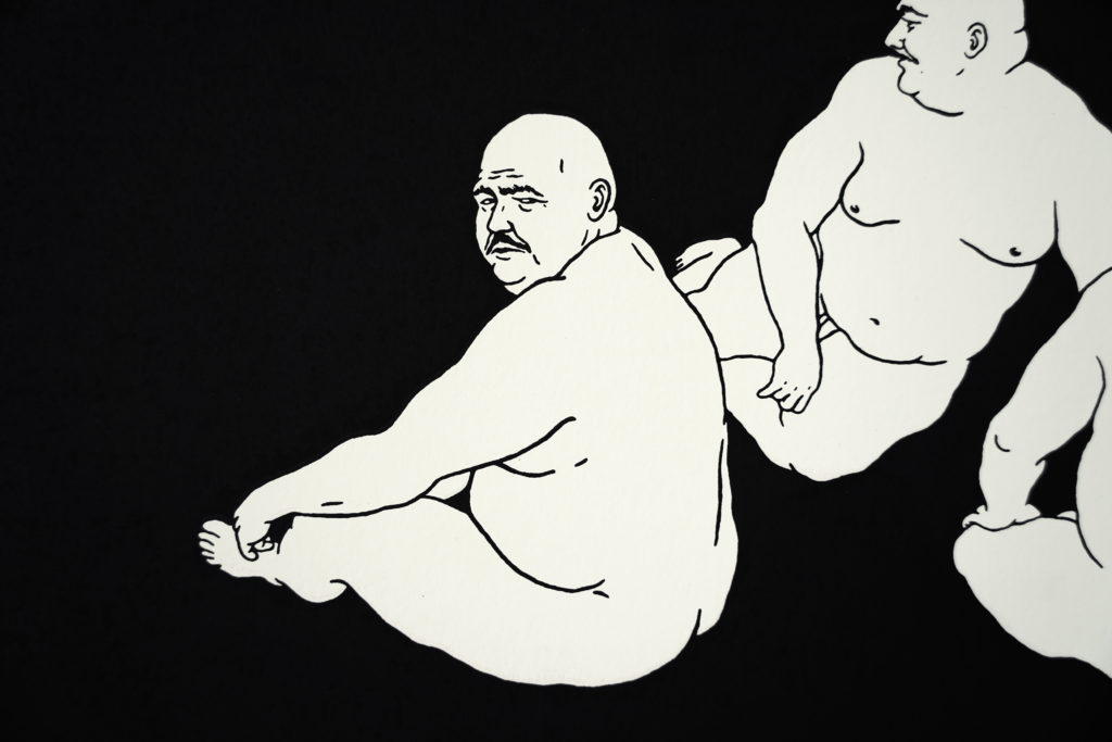 alone, unga, bfc, broken fingaz, haifa, print, silkscreen, hand printed, japanese, fat, nude, man, men, pop art, graffiti, iluustration