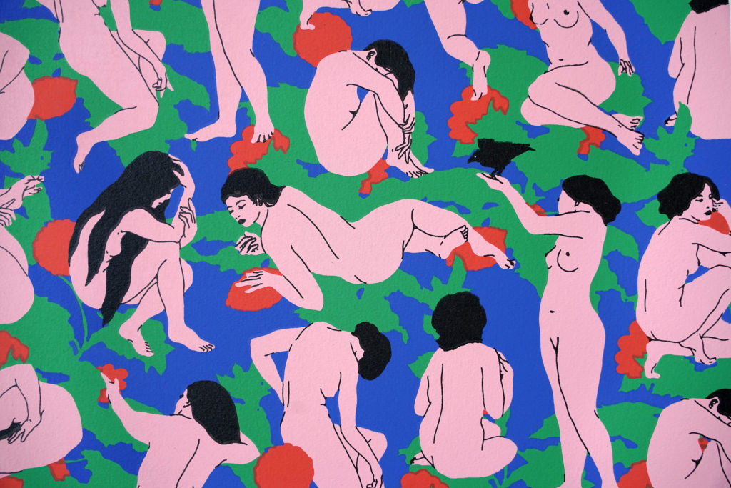 broken fingaz, print, tant, pop art, street art, nude, birds, floral, female, silk screen, graffiri, telaviv, middle east, art, print,