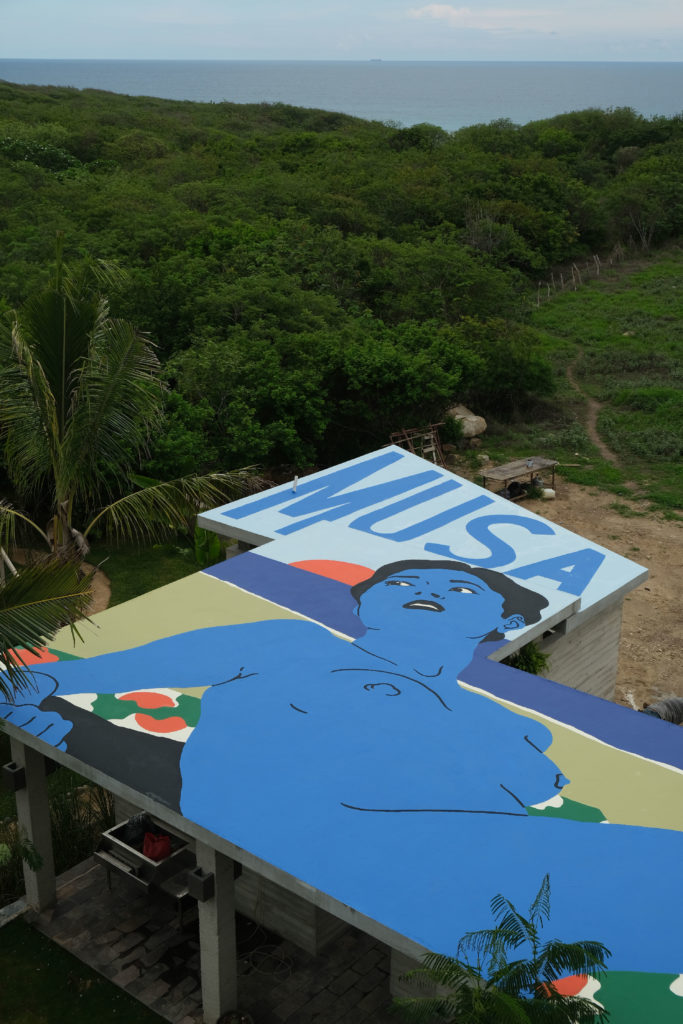 broken fingaz, deso, mexico. zihuatanejo, street art, graffiti, roof, jungle, blue woman, musa, pop art